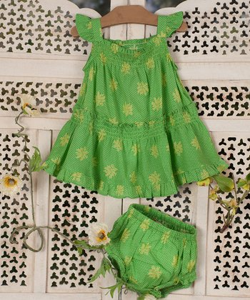 Green Berry Dot Dress & Diaper Cover - Infant