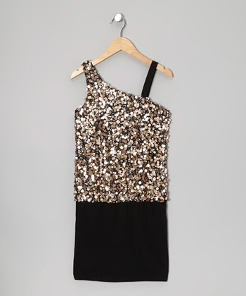 Black & Gold Sequin Asymmetrical Dress