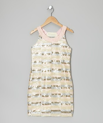 Pink & Cream Sequin Stripe Yoke Dress - Girls