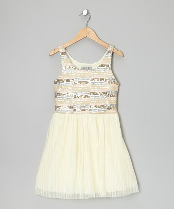 Pink & Cream Sequin Stripe Babydoll Dress