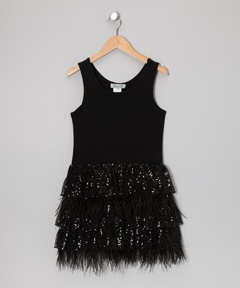 Black Sequin Feather Tiered Dress