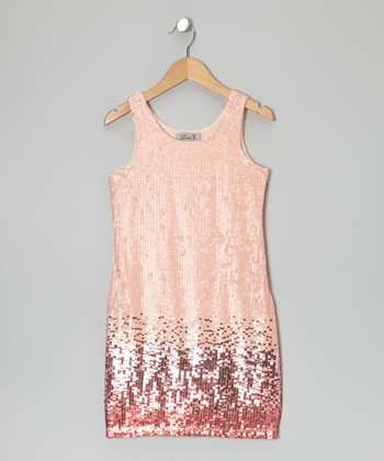 Pink Ombré Sequin Shift Dress
