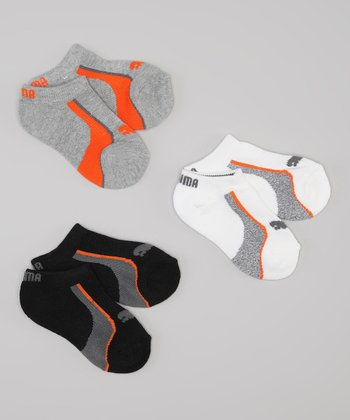Gray & Orange Low Cut Socks Set - Boys