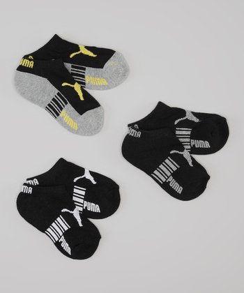 Black & Yellow Runner Socks Set - Boys