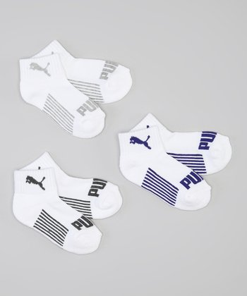 White & Blue Stripe No-Show Socks Set - Boys