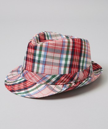 Red & Blue Plaid Fedora