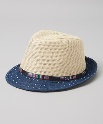 Navy & Tan Polka Dot Flag Fedora
