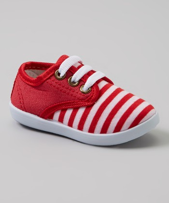 Milly & Max Red & White Stripe Sneakers