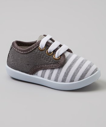 Milly & Max Gray & White Stripe Sneakers