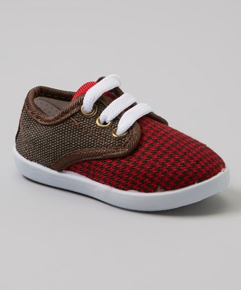 Red & Black Houndstooth Sneakers