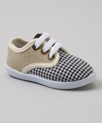 White & Black Houndstooth Sneakers