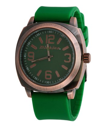 Green & Copper Rubber Watch