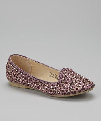 Marilyn Moda Purple Embellished Coral Loafer