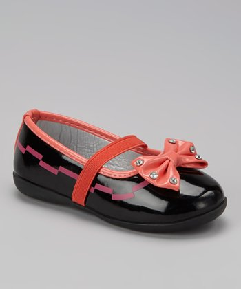 Black & Coral Sparkle Bow Flat