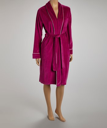 Burgundy & White Trim Robe