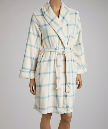 Blue & White Plaid Robe