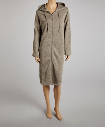 Chestnut Zip-Up Hooded Robe