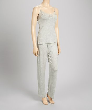 Heather Gray Lace Bound Pajama Set - Women