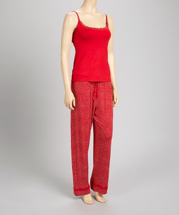 Red Classic Tank Pajama Set - Women