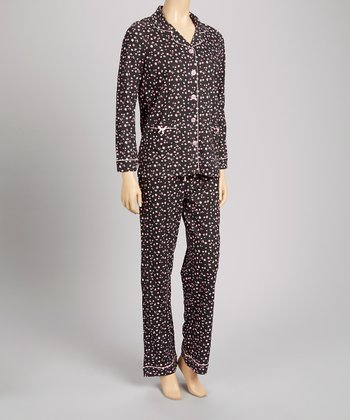 Black & Pink Notch That Collar Pajama Set - Women