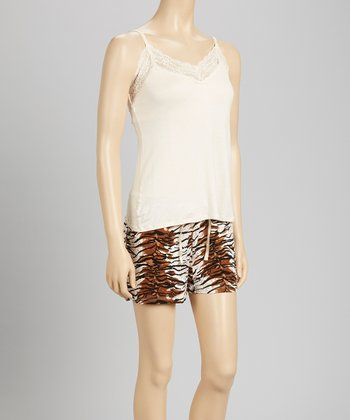 Ivory & Cheetah Lace Bound Pajama Set - Women