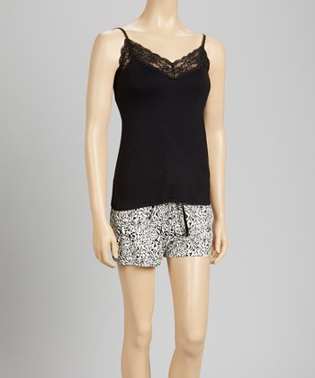 Black & Zebra Lace Bound Pajama Set - Women