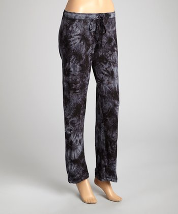Black Tie-Dye Double Fun Pajama Pants - Women