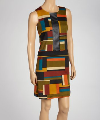 Green & Orange Color Block Dress