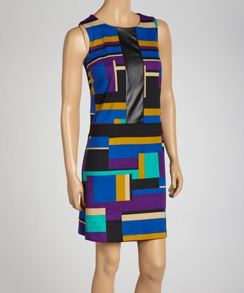 Purple & Blue Color Block Dress