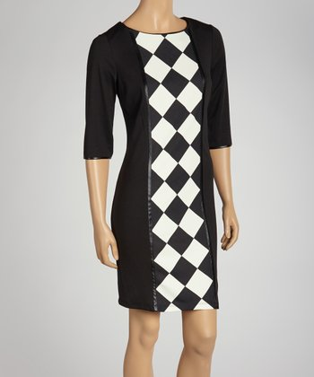 Black & Ivory Checkerboard Three-Quarter Sleeve Dress