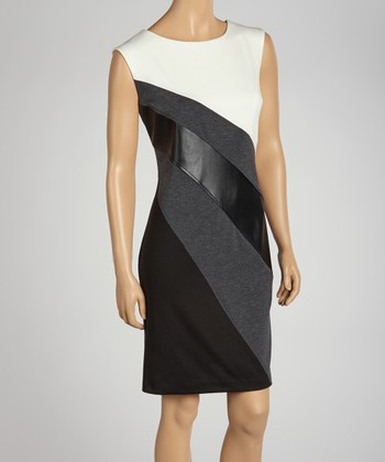 Charcoal & Ivory Color Block Sleeveless Dress