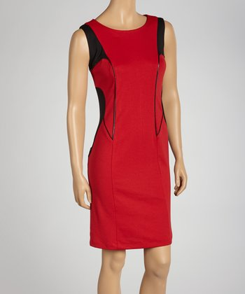 Red & Black Trim Sleeveless Dress