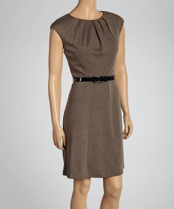 Taupe Belted Cap-Sleeve Dress