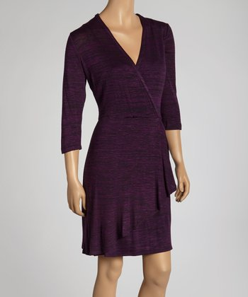Plum Faux-Wrap Dress