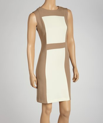 Sand & White Color Block Sleeveless Dress