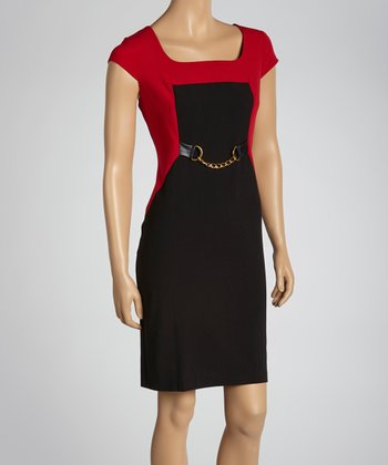 Fuchsia & Black Chain Detail Color Block Dress