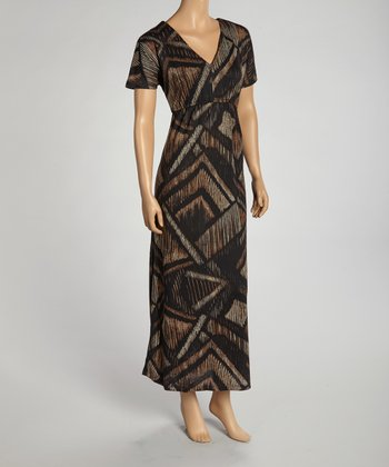 Brown Geometric Maxi Dress
