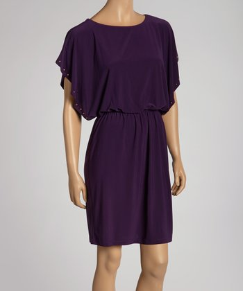 Aubergine Cape-Sleeve Dress
