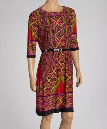 Red & Yellow Geometric Belted Dress