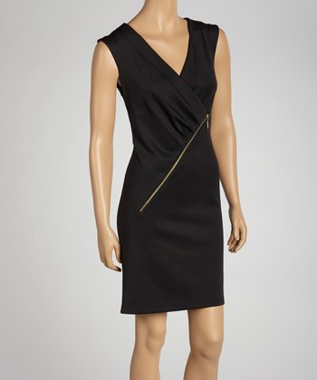 Black Asymmetrical Zipper Dress