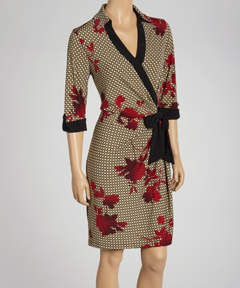 Red & Black Geometric Floral Wrap Dress