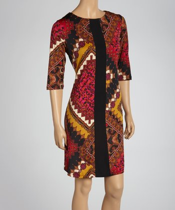 Red & Brown Batik Shift Dress