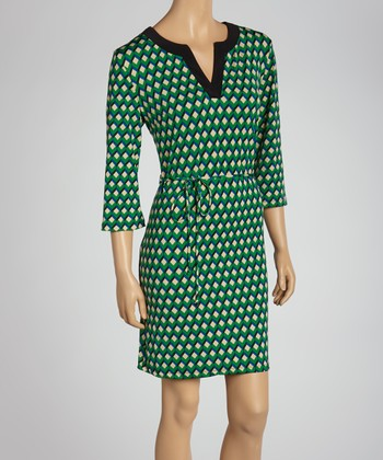 Green Geometric Tie-Waist Dress