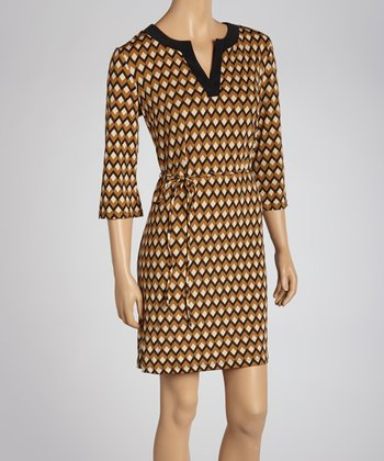 Brown Geometric Tie-Waist Dress