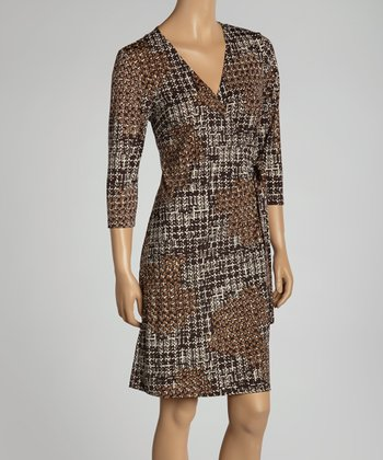 Brown & Black Tweed Wrap Dress