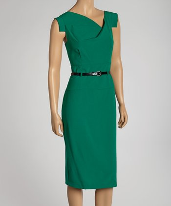 Emerald Belted Cross Bodice Dress