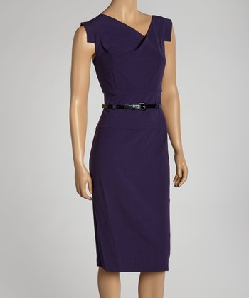 Violet Belted Cross Bodice Dress