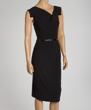 Black Belted Cross Bodice Dress