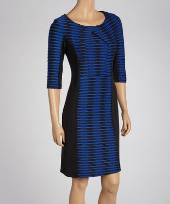 Royal Blue & Black Abstract Stripe Dress