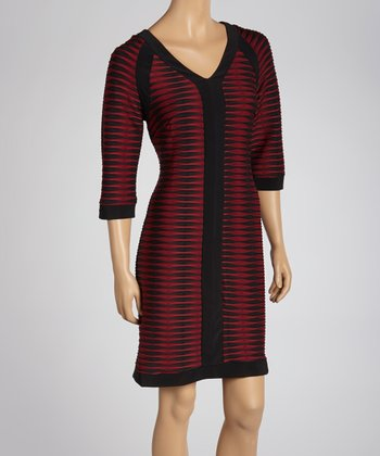 Black & Wine Abstract Stripe Dress